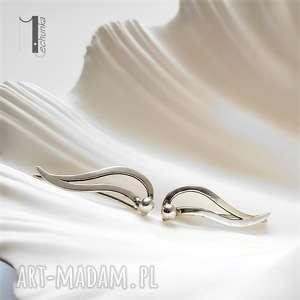 szare kolczyki nausznice wave srebrne