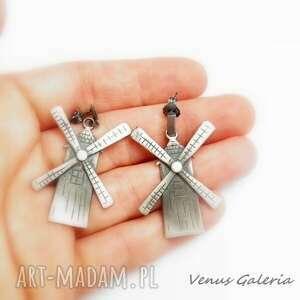 Wiatraki duże - kolczyki srebrne biżuteria