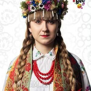 hand made kolczyki folk wiszące kwiaty