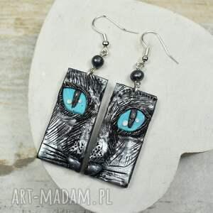 kolczyki koty turkusowe wiszące czarny kot