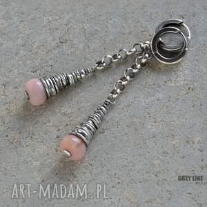 różowe kolczyki długie wiszące z opalem ii
