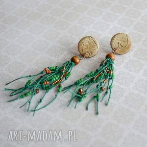 zielone kolczyki urocze w stylu boho