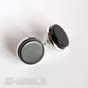 czarne kolczyki kamień wkrętki z onyksem- eleganckie