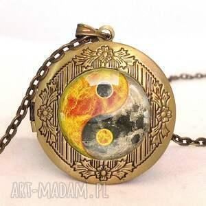 kolczyki pomarańczowe yin yang - wkrętki