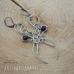 oryginbalne kolczyki z ametystami, wire