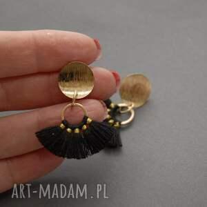 SiSu kolczyki z czarnymi chwościkami - sznurek