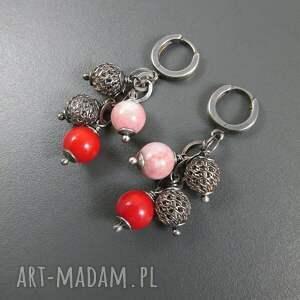 różowe kolczyki srebro z opalu i korala