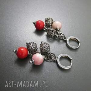 nietuzinkowe kolczyki srebro z opalu i korala