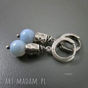 kolczyki srebro z opalu niebieskiego