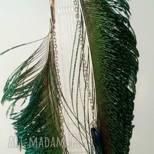 boho zielone kolczyki z pawich piór - miecze