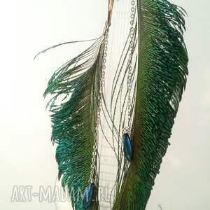 turkusowe pióra kolczyki z pawich piór - miecze