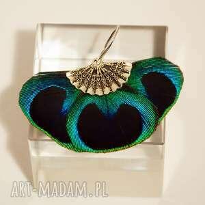 niebieskie pióra kolczyki z pawich piór - wachlarze