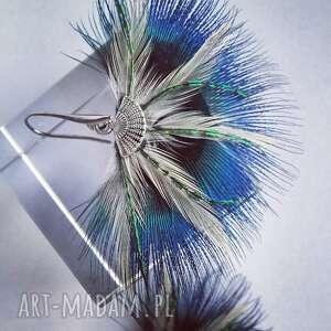 niebieskie wachlarz kolczyki z pawich piór - wachlarze