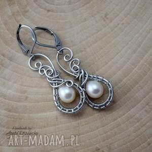 nietuzinkowe kolczyki z perłami, wire wrapping