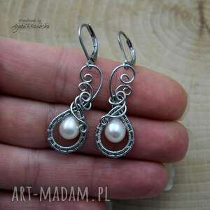wirewrapping kolczyki z perłami, wire wrapping