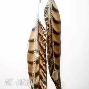 wyraziste boho kolczyki z piór - miecze odsłona