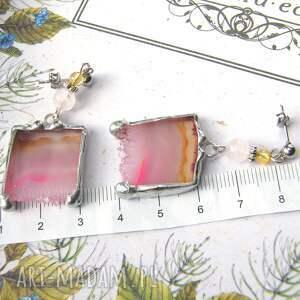 kolczyki z-agatem z różowym agatem