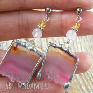 kolczyki kryształy z różowym agatem