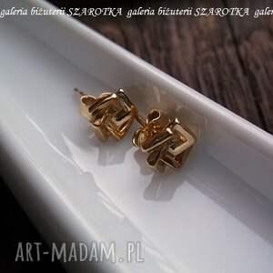 kolczyki złocone zamotane kwadraty ze