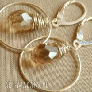 kolczyki eleganckie ze srebra z kryształkiem
