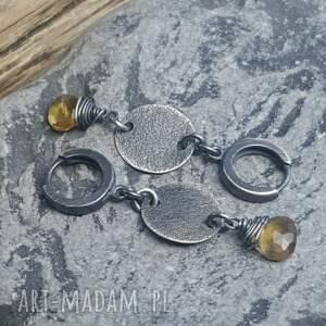 srebrne kolczyki kolczyki-wiszące ze srebra z kwarcem lemon