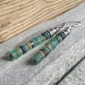 turkusowe kolczyki srebro-szkło ze srebra i antycznego