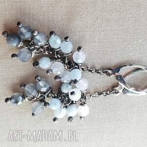 oksydowane kolczyki ze srebra i szarego kwarcu