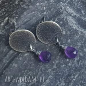 fioletowe kolczyki kolczyki-sztyft ze srebra z kroplą