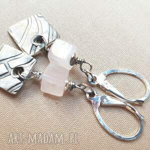 srebro kolczyki ze srebra i różowego