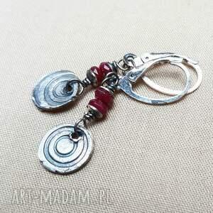Kolczyki ze srebra i jadeitu rubinowego - kobiece srebro