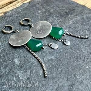 zielone metaloplastyka kolczyki ze srebra z zielonymi