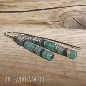 kolczyki srebro-szkło ze srebra i antycznego