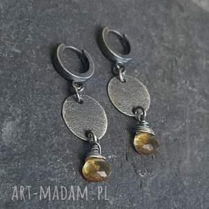 awangardowe kolczyki kolczyki-wiszące ze srebra z kwarcem lemon