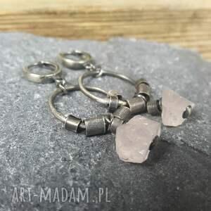 różowe kolczyki kolczyki-ze-srebra ze srebra z kwarcem