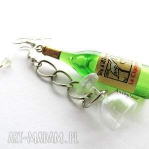 oryginalne kolczyki zestaw wino z kieliszkiem