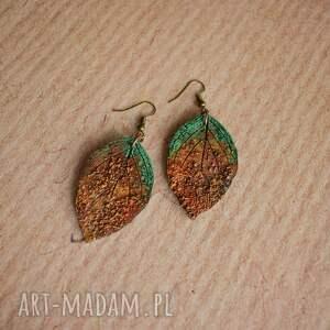 zielone kolczyki liście rustykalne