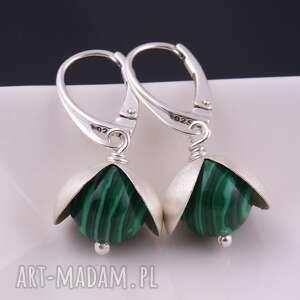 srebro kolczyki zielone z malachitu