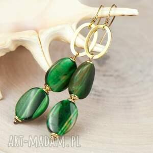 zielone kolczyki bawole oko złociste z bawolim okiem