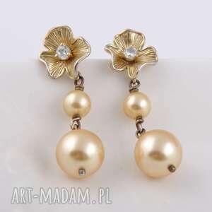 kolczyki złote kwiaty-kolczyki z pereł