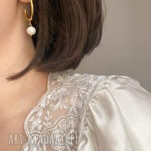 niepowtarzalne kolczyki perły złote półkola xl z naturalnymi