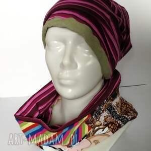 paski czapka damska i komin patchworkowy