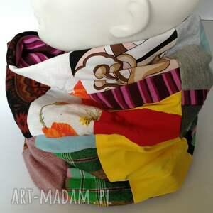 Ruda Klara kominy: Komin wiosenny damski szyty patchworkowo handmade dobry na rower