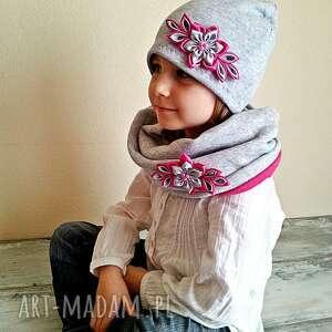 różowe kominy czapka kompet dla dziewczynki