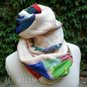 komplet damski kolorowy zimowy komin i czapka boho