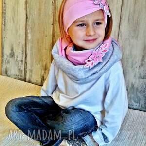 różowe kominy szalik komplet dla dziewczynki
