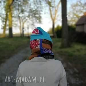handmade kominy czapka komplet wiosenny patchworkowy etno
