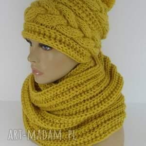 czapka kominy komplet yellow bahama