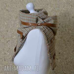hand-made kominy komin szal, chusta, ponczo w kratkę