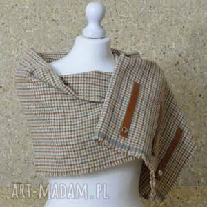 hand-made kominy elegancki szal, chusta, ponczo w kratkę