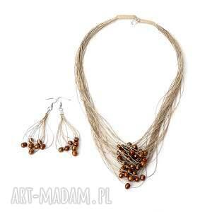 perły brązowe komplet biżuterii